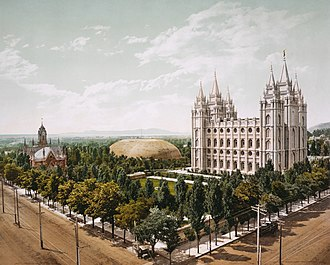 Temple Square - Temple Square, approx 1898–1905, showing the Salt Lake Temple, Salt Lake Tabernacle and Salt Lake Assembly Hall