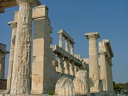 Temple of Aphaia (Aegina): The interior of the cella was embellished with two tiers of Doric columns.