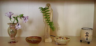 Kemetism - Private altar of a practitioner in the Czech Republic, with a statue representing Thoth featured prominently