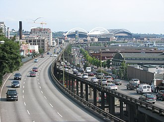 Alaskan Way Viaduct - The Alaskan Way Viaduct, looking southeast