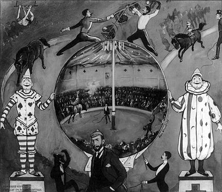 The Amateur Circus at Nutley (1894) by American illustrator Peter Newell. The scene depicted in the center is of Annie Oakley, standing on horseback, demonstrating her shooting ability. The Amateur Circus at Nutley by Peter Newall 1894.jpg