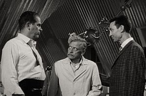 Ivan Triesault - Douglas Kennedy, Ivan Triesault (center), and James Griffith in The Amazing Transparent Man (1960).