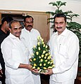 The Chief Minister of Andhra Pradesh, Dr. Y.S. Rajasekhara Reddy calls on the Union Minister for Health and Family Welfare, Dr. Anbumani Ramadoss, in New Delhi on August 17, 2007.jpg