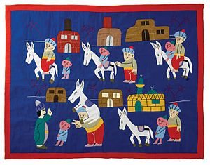 Nasreddin - A Goha story cloth by Ahmed Yossery (2007) depicting a version of The miller, his son and the donkey, The Children's Museum of Indianapolis