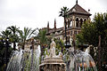 The Fuente de Sevilla fountain at the Puerta de Jerez square (a tower of Hotel Alfonso XIII building in the background). Seville, Andalusia, Spain, Southwestern Europe.jpg