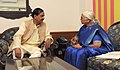 The Governor of Goa, Smt. Mridula Sinha calling on the Minister of State for Culture (Independent Charge), Tourism (Independent Charge) and Civil Aviation, Dr. Mahesh Sharma, in New Delhi on March 13, 2015.jpg