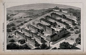 Royal Herbert Hospital - Aerial view showing pavilion layout, 1866