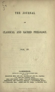 The Journal of Classical and Sacred Philology, Volume 4, 1859.djvu
