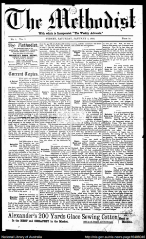 Uniting (newspaper) - Front page of The Methodist on 2 January 1892.