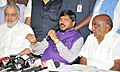 The Minister of State for Social Justice & Empowerment, Shri Ramdas Athawale addressing a press conference, in Hyderabad on September 07, 2017.jpg