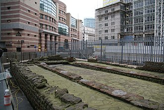 London Mithraeum - The Mithraeum in 2004 when reassembled at Temple Court, Queen Victoria Street, EC4