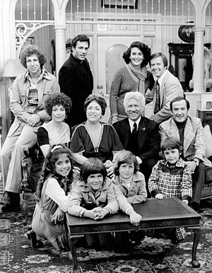 Ron Carey (actor) - Cast of The Montefuscos (1975). Back row, L-R: Sal Viscuso, John Aprea, Linda Dano, Bill Cort. Middle row: Phoebe Dorin, Naomi Stevens, Joseph Sirola, Ron Carey. Front: Dominique Pinassi, Jeffrey Palladini, Damon Raskin and Robby Paris