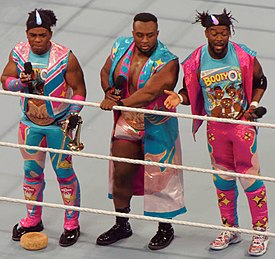 The New Day WWE Tag Team Champions Raw April 2016.jpg