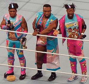 WWE SmackDown Tag Team Championship - Two-time SmackDown Tag Team Champions The New Day: Xavier Woods (left), Big E (center), and Kofi Kingston (right) defended the titles under the Freebird Rule