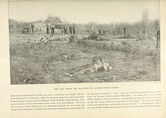 Second Battle of Corinth - Confederate dead outside the parapet of Battery Robinett on October 5. Col. William P. Rogers of the 2nd Texas lies in the left background-his dead horse is to the right
