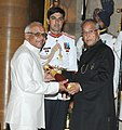 The President, Shri Pranab Mukherjee presenting the Padma Bhushan Award to Shri Hemendra Singh Panwar, at an Investiture Ceremony, at Rashtrapati Bhavan, in New Delhi on April 05, 2013.jpg
