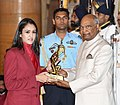 The President, Shri Ram Nath Kovind presenting the Arjuna Award, 2018 to Ms. Manika Batra for Table Tennis, in a glittering ceremony, at Rashtrapati Bhavan, in New Delhi on September 25, 2018.JPG
