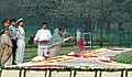 The President, Smt. Pratibha Devisingh Patil paying floral tributes at the Samadhi of former Prime Minister, Pandit Jawaharlal Nehru on his 118th birth anniversary at Shantivan, in Delhi on November 14, 2007.jpg