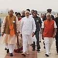 The Prime Minister, Shri Narendra Modi arrives to attend the swearing in ceremony of new Haryana Chief Minister, at Panchkula, Haryana on October 26, 2014. The Governor of Haryana, Prof. Kaptan Singh Solanki is also seen.jpg