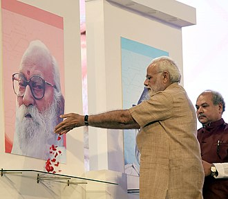 Nanaji Deshmukh - The Prime Minister, Shri Narendra Modi paying floral tributes to Nanaji Deshmukh, on the Birth Centenary Celebrations of Nanaji Deshmukh, at IARI, New Delhi on 11 October 2017