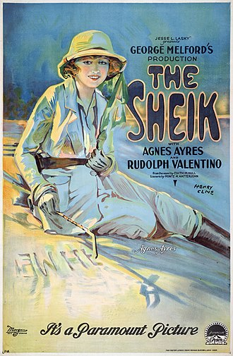 The Sheik (film) - Image: The Sheik with Agnes Ayres and Rudolph Valentino, movie poster, 1921