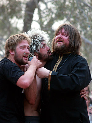 The Soundtrack of Our Lives - Singer Ebbot Lundberg (right) in the crowd with two fans at the Meredith Music Festival, December 2006