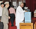 The Union Minister for Labour and Employment, Shri Mallikarjun Kharge casting his vote in the Vice Presidential election at Parliament House, in New Delhi on August 07, 2012.jpg