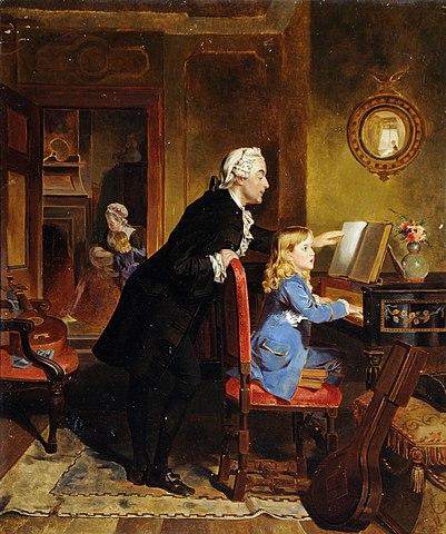 Картина XIX века, изображающая Вольфганга и его отца Леопольда за занятием музыкой. Художник— Эбенейзер Кроуфорд