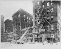 The burned-out Monticello Hotel, Norfolk, Virginia, and fire apparatus frosted with icicles, 1918 - NARA - 533642.tif