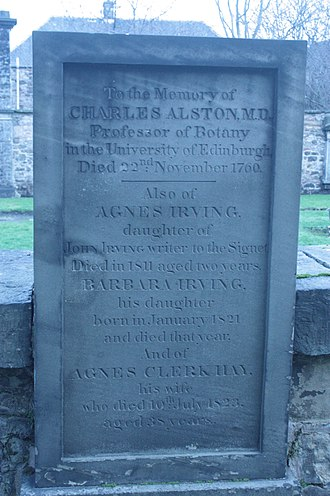 Charles Alston (botanist) - The grave of Charles Alston, Canongate Kirkyard, Edinburgh