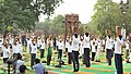 The participants in the mass performance of Common Yoga Protocol, on the occasion of the 4th International Day of Yoga -2018, at Qutub Minar Complex, in New Delhi on June 21, 2018 (2).JPG