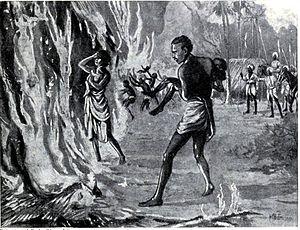 Pindari - The villagers burning themselves to avoid Pindaris, 1815