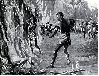 Pindari - Villagers burning themselves to avoid Pindaris, 1815