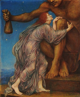 1909 painting The Worship of Mammon, the New Testament representation and personification of material greed,  by Evelyn De Morgan.