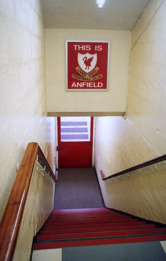 Anfield - The old tunnel to the pitch at Anfield. The sign was installed by former manager Bill Shankly to instill fear into the opposition.
