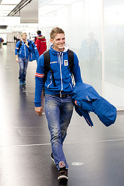 Thomas Morgenstern departure to Sochi.jpg