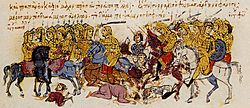 Illumination of battle scene with cavalry and foot soldiers.