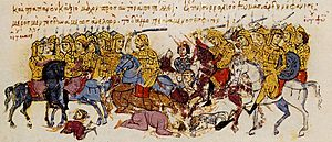 Thomas the Slav - Thomas's troops defeat the forces loyal to Michael II. Miniature from the Madrid Skylitzes.
