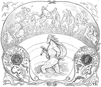 Norse mythology - The god Thor wades through a river while the Æsir ride across the bridge Bifröst in an illustration by Lorenz Frølich (1895)