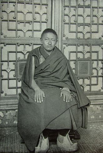 "Panchen Lama - 9th Panchen Lama, Thubten Choekyi Nyima taken by Sven Hedin. Published in his 1922 book ""Trans-himalaya"""