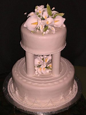 Wedding cake - Tiered cake with calla lilies, a symbol of purity