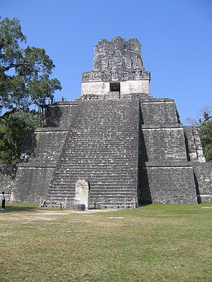 Maya architecture - Tikal, temple pyramid with prominent roof comb