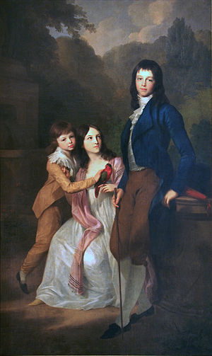 Landgravine Louise of Hesse-Darmstadt (1757–1830) - The children of Charles Augustus and Louise's: Charles Frederick, Caroline Louise and Bernhard. Portrait by Johann Friedrich August Tischbein, 1798.
