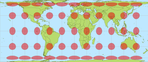 Tissot's indicatrix - The Behrmann projection with Tissot's indicatrices