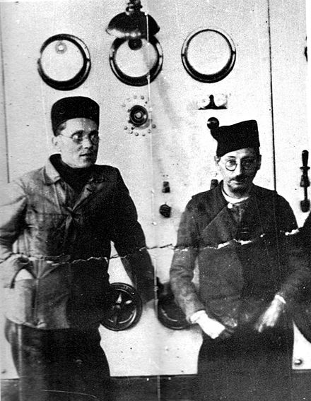 Tito (left) and his ideological mentor Mosa Pijade while in the Lepoglava jail Tito i Mosa Pijade u zatvoru.jpg