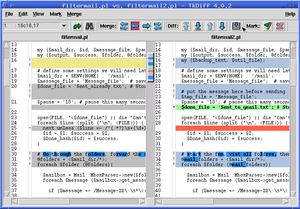 Tkdiff - tkdiff uses colors to suggest differences between files and within shared lines.