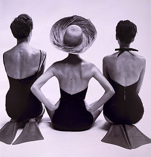 Breton (hat) - 1950 swim fashion by photographer Toni Frissell, showing a Breton-style sunhat with upturned brim