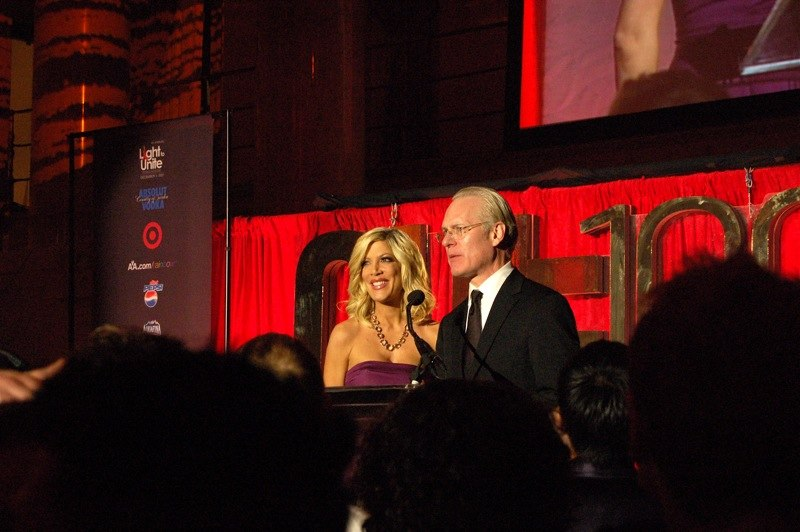 Tori Spelling and Tim Gunn