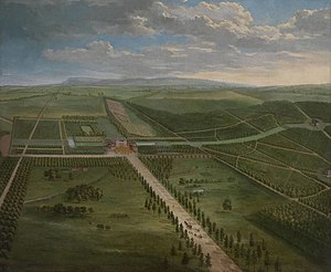Tottenham, Wiltshire - Prospect of Tottenham Park, Wiltshire, by Pieter Andreas Rysbrack (c. 1684 – 1748), commissioned by Charles Bruce, Viscount Bruce (1682–1747), from 1741 4th Earl of Elgin and 3rd Earl of Ailesbury