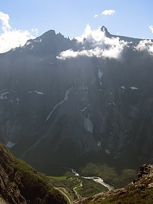 Cliff - Europe's highest cliff, Troll Wall in Norway, a famous BASE jumping location for jumpers from around the world.